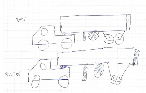 Schiță camion în dublu exemplar.