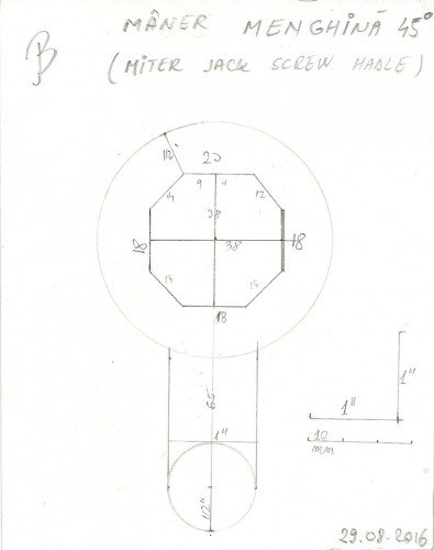 Desen mâner după măsurarea secțiunii șurubului